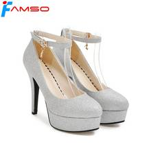 FAMSO 2018 New Spring Autumn thin Heels Pumps Gold Silver High Heels Shoes Ankle Strap Party Glitter Platforms Pumps(China)