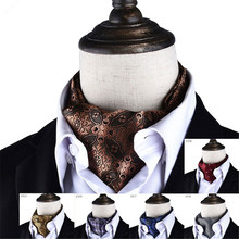 CityRaider Brand New Men Vintage Polka Wedding Formal Cravat Ascot Scrunch Self Gentleman Polyester For Men Neck Tie Brown CR012
