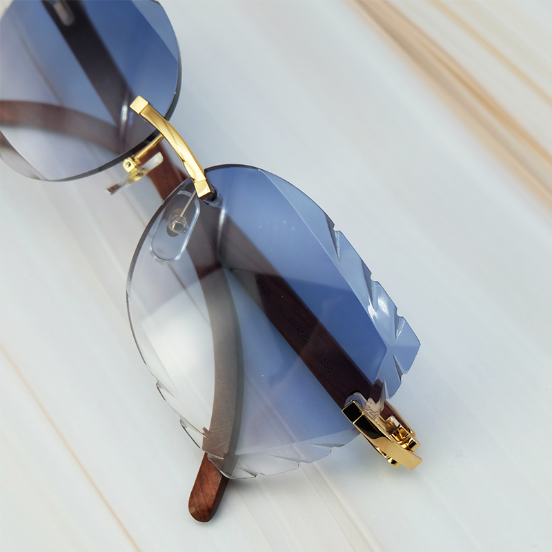 Rimless 3mm Thick Gradient Blue Lens Square Designer Brand Name Carter Sunglasses Wholesale Maroon Wood Sun Glass Wooden Shade (8)