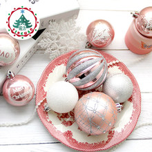 inhoo 2017 Christmas Tree Decoration Ball Ornaments Pendant Accessories 8cm Silver powder Balls Wedding For Christmas Home Party(China)