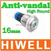 16MM momentary dot illuminated anti-vandal pushbutton switch high round 1NO1NC