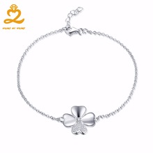 925 Sterling Silver Circles Bracelet & Jewelry for Woman Natural Paved Setting Gemstone Clover Round Female Bracelets(China)
