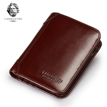 LAORENTOU 100% Genuine Leather Men Short Wallet Vintage Cow Leather Wallets Casual Male Purse Standard Card Holders for Men(China)