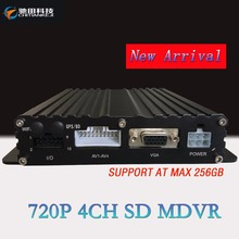 256G SD CARD MDVR SUPPORTED 3G 4G GPS WiFi AHD 720P 4 CH Bus DVR dvr 4ch(China)