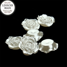 LINSOIR 1012mm White Flower Simulated Half Pearl Beads Decoration Crafts Flat Back Cabochon DIY Jewelry Making F1571 - Linsoir official store