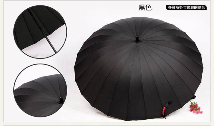 Hot sell Creative long handle outdoor 24 Rib bone straight umbrella large golf umbrellas two or three people compact umbrellas 23