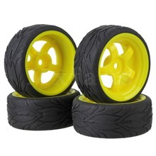 Mxfans 4x RC 1:10 On-road Car Fish Scale Rubber Tyre & Plastic 5-spoke Wheel Rim