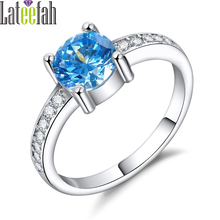 Lateefah Retail Store Droplet Moonlight Ocean Blue CZ Rings for Women Created Aquamarine Women Ring Female Wedding Jewelry Anel