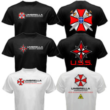 The Resident Evil Umbrella Corp pharmaceuticals Company T-Virus T shirt Men two sides cotton casual gift tee USA Size S-3XL(China)