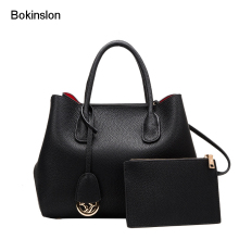 Bokinslon Women Messenger Bags Brand Litchi Profile Cow Split Leather Handbags Woman Casual Name Girl Shoulder Bags(China)