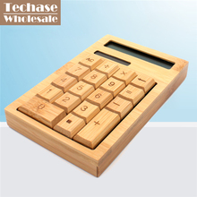Wholesale 72pcs/lot Solar Calculadora Techase Calculator 12 Digits Bamboo Scientific Calculator Free Logo Design Hesap Makinesi(China)