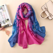 Ombre Tie Dye Laser Cut Floral Wool Silk Shawl Scarves Autumn Winter Bandanas Foulard Wrap Poncho Headband Muslim Hijab Sjaal(China)