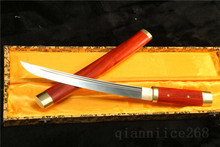 "20.5"" ROSE WOOD DAMASCUS FOLDED STEEL SHARP SWORD FULL TANG TANTO CAN CUT BAMBOO TREE"