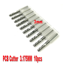 free shipping 10pcs 3.0mm PCB end mills Carbide Tools, CNC Cutting Bits, Millinging Cutters Kit for Engraving Mill Machine
