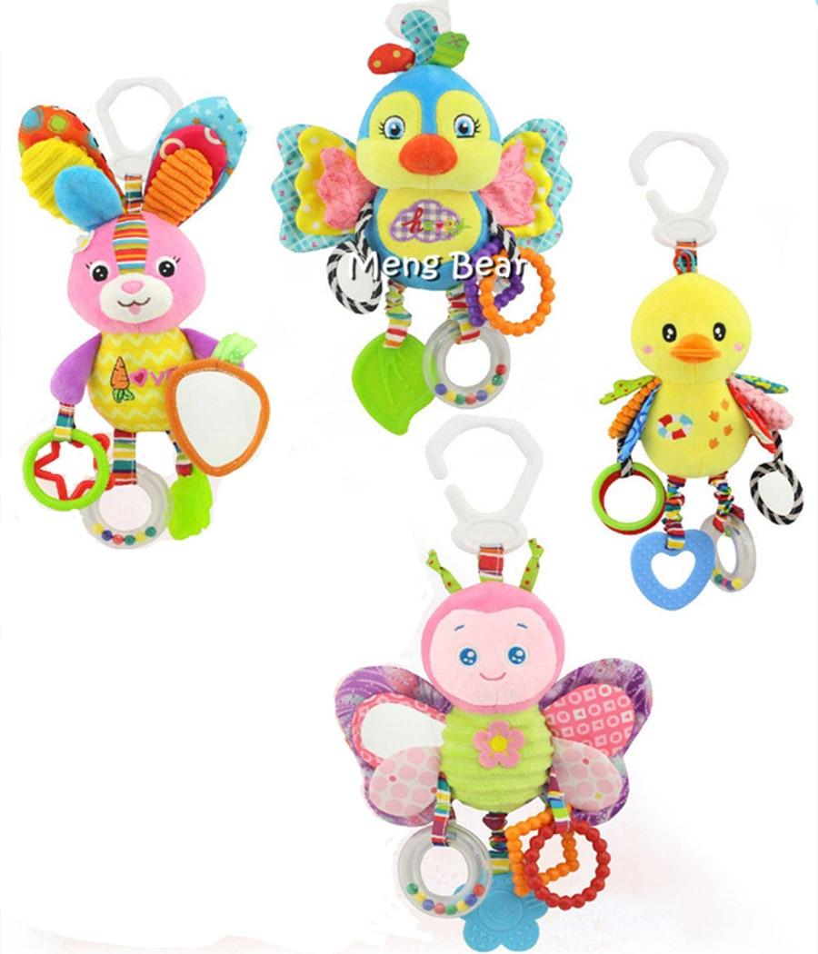 New Baby Soft Animal Handbells Rattles Bed Stroller Bells Developmental Toy lion