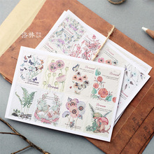 2sheets/Set Korea Retro hand-painted floral plants Flower DIY Decorative Dairy Sticker Stationery Sticky Label Stickers M0388