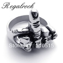 Regalrock Flicking the bird Middle Finger Up Biker Rings for men Motorcyle gear jewelry