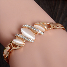 H:HYDE Fine Shipping 1pc Gold Color Cat Eye Stone Unique Bracelet Classic Cute Austrian crystal Womens Jewelry Bracelet