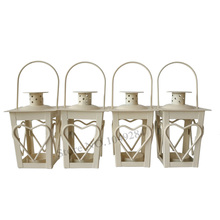 Cheap 2PCS/LOT Heart sharp Metal candle holder Small Iron lantern White Color Wedding supplies