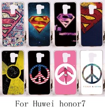 Hard Plastic&Soft TPU Phone Cases For Huawei Honor7 Honor 7 Back Cover DIY Print with Superman Telephone Accessories