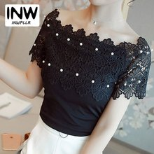2017 Black Lace Blouse Women Shirts Beading Off Shoulder Top Lace Patchwork Blouses Female Casual Chiffon Blusas Femininas