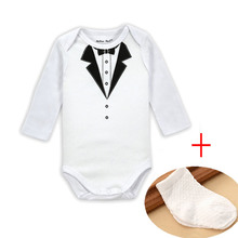2017 Newborn Baby Clothes White Long Sleeves Rompers + socks Baby Boys Gentlemanly style Jumpsuit Baby Clothing