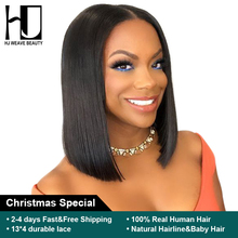 Short Lace Front Human Hair Wigs Brazilian Remy Hair Bob Wig with Pre Plucked Hairline Lace Wig For Black Women Free Shipping (China)