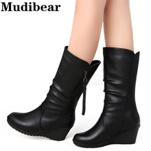 Mudibear Wedges Keep warm Women's Boots Winter Short Plush Solid casual Shoes Women's Rubber Fashion Shoes size 35-40 zipper