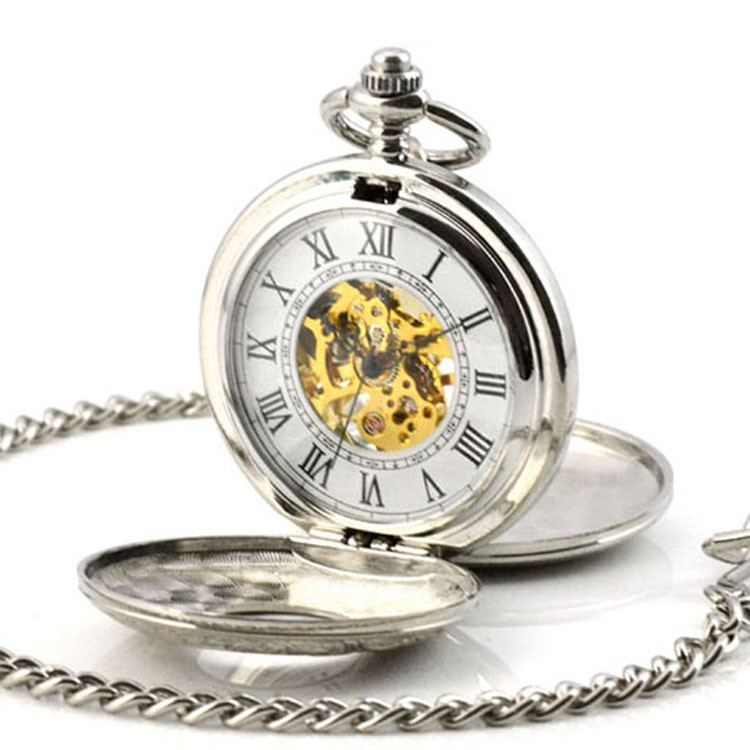 Retro Skeleton Automatic Hollow Mechanical Pocket Watch Men Vintage Hand Wind Clock Necklace Pocket &amp; Fob Watches With Chain<br>