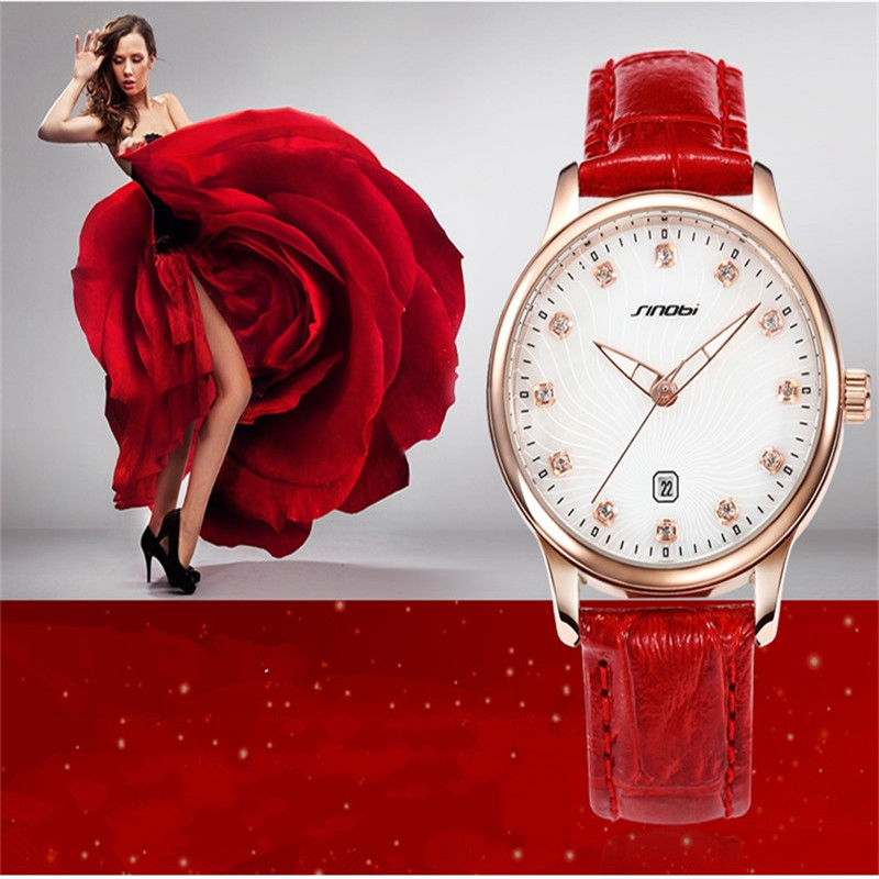 SINOBI Ladies Leather Luminous Quartz Watches Rose Gold Plated Dial Auto Date Wristwatches For Women Relogio Feminino AB2199<br><br>Aliexpress