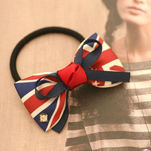The Union Flag Bow with Rhinestone Hair Tie for Girls British Style Ribbon Bow Elastic Hair Band