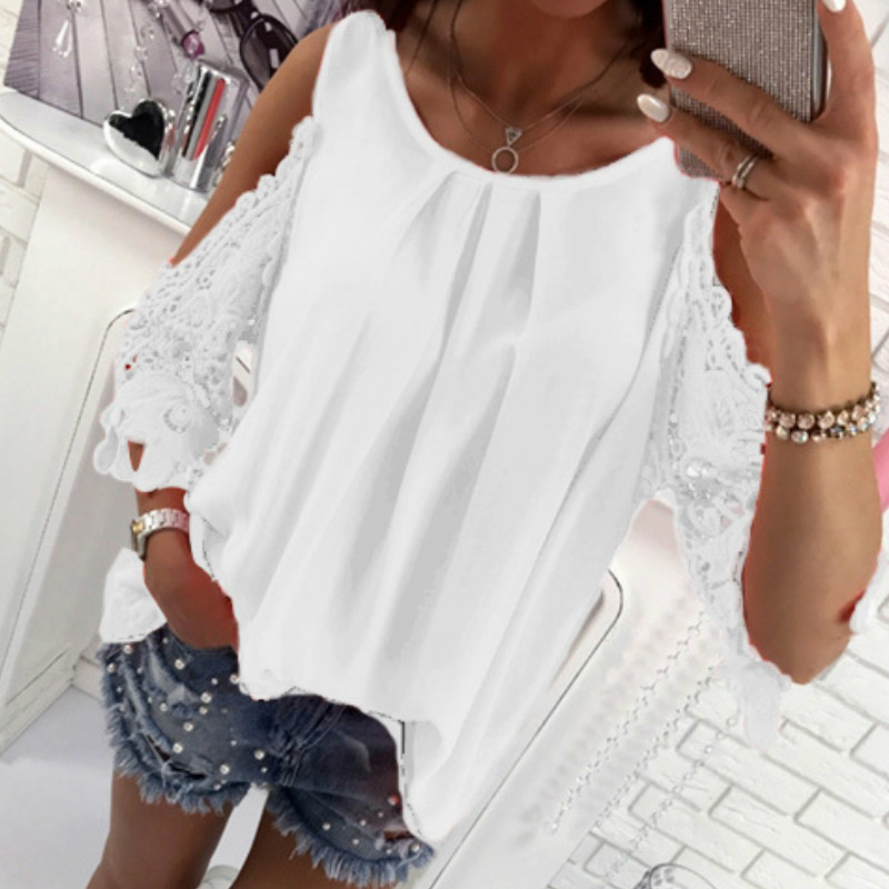 Women Summer Chiffon Blouses 18 New Casual Sexy Sun-top Blusas Half Sleeve Lace Patchwork Shirts Off Shoulder Tops Solid GV381 5