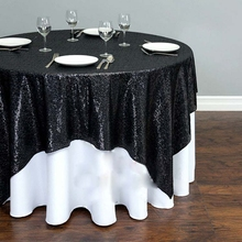 72'' Round Black Sequin Tablecloth Wholesale Wedding Beautiful Sequin Table Cloth / Overlay /Cover