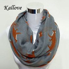10pcs/lot  New Fashion Fox Infinity Voile  Scarf Animal Scarf Small Fox Scarves in mix colour Loop Scarf Fox in Tan Shawls