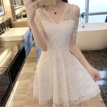 2017 new fashion women's dress   white lace   strapless drees   Princess summer short sleeved V  collar over shoulder
