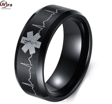 NFS 8MM Stainless Steel Ring Of Life Star Men Black Color Tungsten Carbide Ring With Electrocardiogram Logo For Men Jewelry(China)