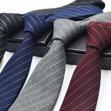 2016 Luxury Cotton 6CM Classic Men's Skinny Ties Striped Print Slim Vintage Bridegroom Costomes Cotton Necktie Narrow Neck tie(China)