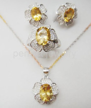 Citrine jewelry set Natural citrine 1pc pendant 1pc ring 1pair stud earring 925 sterling silver 1.25ct*4pcs gems #16030903