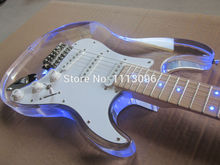 New electric guitar wholsale guitar st guitarra/maple neck oem Acrylic body electric guitar/with LED/guitar in china