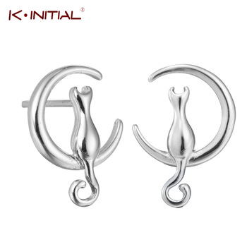 Kinitial Drop Shipping Newest Style Fashion 925 Silver Cat On The Moon Stud Earrings Fashion Jewelry Valentine