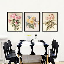 Pink Rose Blossom Oil Painting Fresh Rose with Leaf Canvas Art Picture Gorgeous Floral Prints no Frame Decoration
