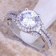 Fascinating White Cubic Zirconia CZ 925 Sterling Silver Ring For Women Size 5 / 6 / 7 / 8 / 9 / 10 / 11 / 12 S0445(China)