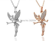 N010/N011 Fairy Angel Fashion Jewelry wedding women lady Gold color Necklace Nickel Free Pendant Crystal SWA Elements(China)