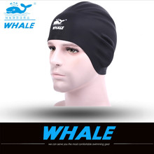 WHALE 3D Silicone Hood ear cap Waterproof Swimming Caps for Men Womenwimming caps for long Swimming Hat Cover Ear Bone Pool 2017(China)