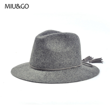 Women Floppy Wide Brim Charming Fedora Hat with Doubt Suede Tassel Band Decoration Cap Female Spring Winter Autumn Hat 70005(China)