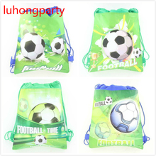 1PCS 37*24cm Football theme non-woven bags fabrics drawstring backpack,schoolbag gift bags