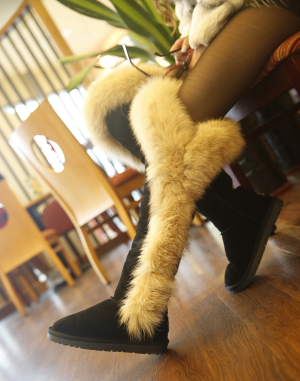2017 Fox Fur Winter Boots ,Woman Genuine Leather Over the Knee Snowboots Big Fur Super Warm Female Botas Black Friday<br><br>Aliexpress