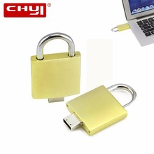 CHYI Metal Retail USB Flash Drive Pen Drive Creative Golden Lock Design Memory Stick 4GB 8GB 16GB 32GB 64GB Pendrive U Disk(China)