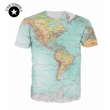 2017 new World Map 3D funny t Shirt printed Hipsters retro globe image of the Americas t shirt Short Sleeve tees Women Men tops