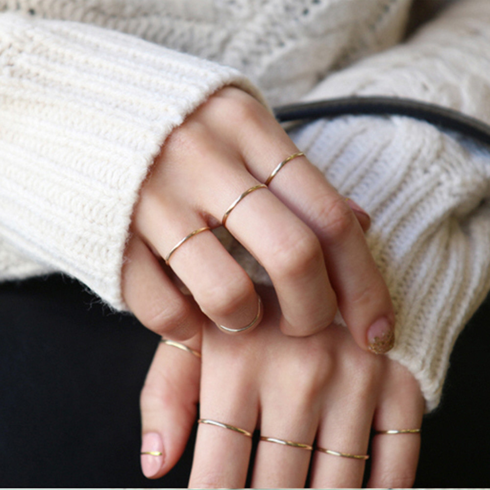 Golden-Rings Knuckle Fine-Circle Women Jewelry Silver Midi One-Piece Thin Little Simple title=